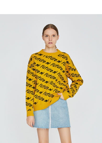 TOYOUTH KNITTED JUMPER IN LETTERS ALL OVER PRINT