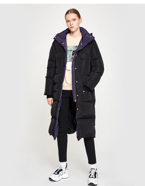 TOYOUTH OVERSIZED LONGLINE PUFFER COAT WITH SIDE DETAIL