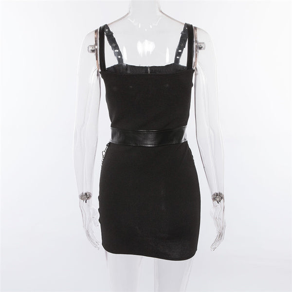 SHEFAME ZOZIYSA PATCH LEATHER BLACK DRESS WITH ZIPPER - boopdo