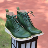 NIL ADMIRARI RETRO LIGHTWEIGHT HIGH ANKLE GREEN UNISEX LEATHER BOOTS - boopdo