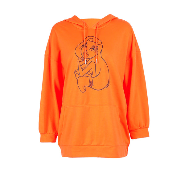 SHEMODA MERMAID CARTOON PRINT HOODIE SWEATSHIRT IN BRIGHT COLOR