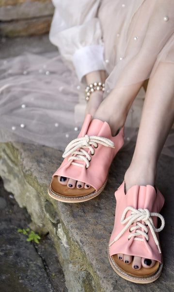 ARTMU WIDE FIT SLING BACK SANDALS WITH LACE UP DESIGN