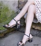 ARTMU PLAID CHECK HEELED SANDALS