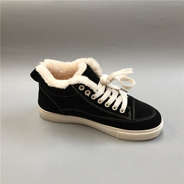 BOOPDO DESIGN HIGH FAUX FUR SNEAKER IN BLACK