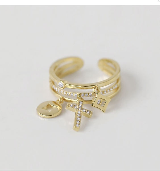 UZL DESIGN OPEN ENG RING WITH CROSS AND CRYSTAL EMBELLISHMENT - boopdo