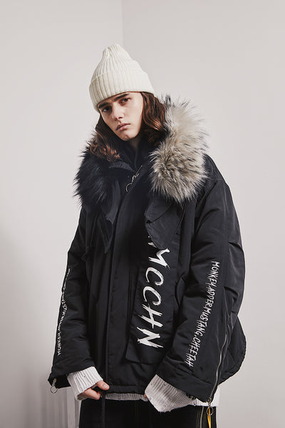 MAMC ABOW LIFE BLACK WHITE LARGE FUR COLLAR UNISEX HOODED JACKET - boopdo