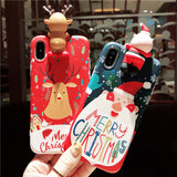 MERRY CHRISTMAS NOEL FATHER AND DEERS APPLE IPHONE PROTECTIVE PHONE CASE