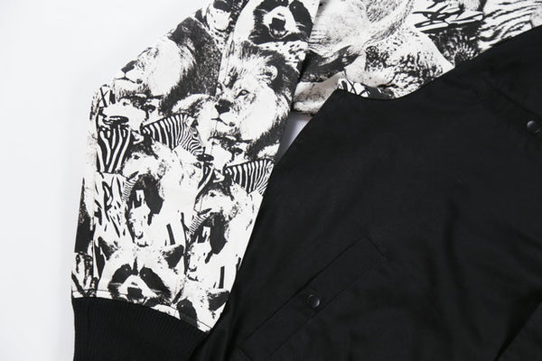 DENIMO KERRY ZOO PRINT BOMBER JACKET IN BLACK
