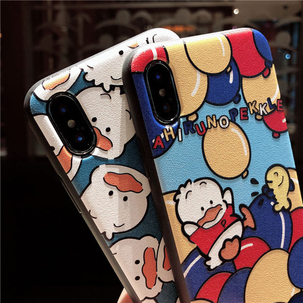 AHIRUNO PEKKLE BUBBLE DUCK EMBOSSED ANTI FALL IPHONE CASES - boopdo