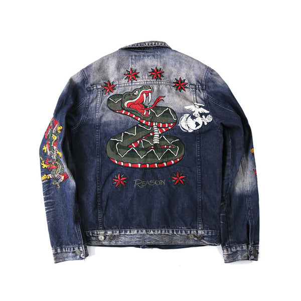 TEXANS MONORZA CLOTHING HABIT DENIM JACKET IN BLEACH EFFECT - boopdo