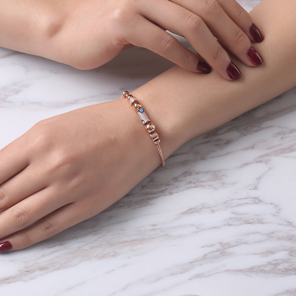 JELLY GIRL 925 STERLING SILVER EVIL EYES TANER BEADED BRACELET IN ROSE GOLD - boopdo