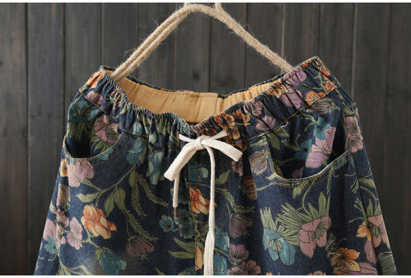 AUTUMN VINTAGE INSPIRED FLORAL DENIM SHORTS