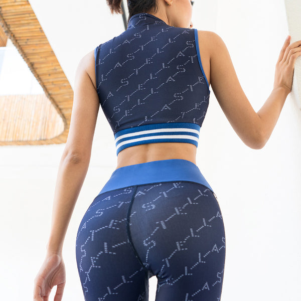 VSEMLEIN DESIGN ZIP FRONT CROP TOP AND LEGGINGS WITH LETTER TAPING