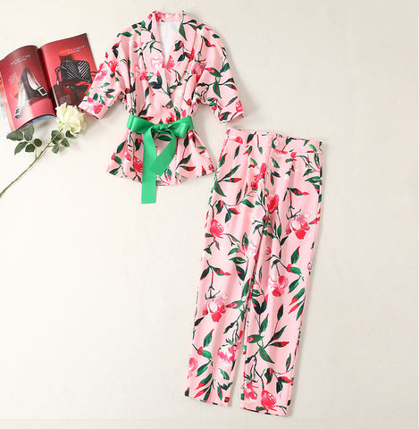BBL DESIGN FLORAL PRINT WRAP TIE WAIST BLOUSE WITH TROUSER CO ORD