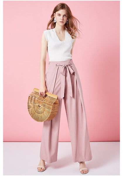 ARTKA WIDE LEG PANTS WITH TIE WAIST - boopdo