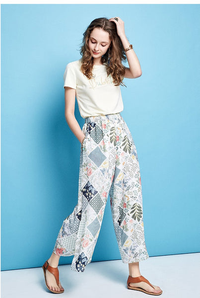 ARTKA WIDE SPLIT LEG TROUSERS IN FLORAL