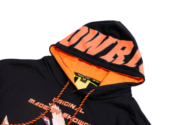 MADE BY SHOW RICH STALKS ABOW LIFE BLACK ORANGE HOODIE SWEATSHIRT - boopdo