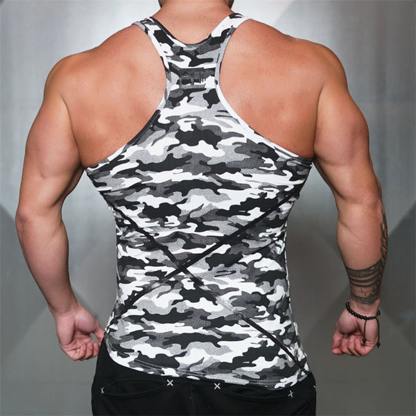 MUSCLE MIRA SPORTSTYLE GRAPHIC TANK TOP BE01 CAMOUFLAGE BLACK WHITE