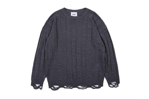NAGRI KORBA RIPPED KNITTED CREW NECK PULLOVER SWEATER