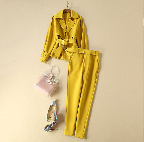 BBL DESIGN BELTED BLAZER AND MATCHING TROUSER CO ORD