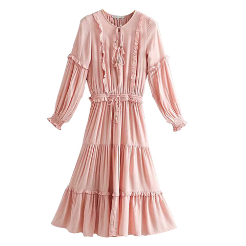 BOOPDO AMERILO RETRO TRIM LONG SLEEVED DRESS IN PINK