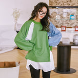 8GIRLS RELAXED DOUBLE LAYER DETAIL COLORBLOCK LONG SLEEVE TOP - boopdo