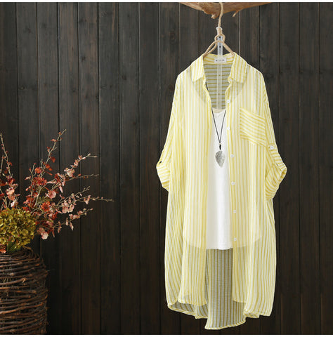 AUTUMN BUTTON FRONT TUNIC TOP IN NATURAL STRIPE
