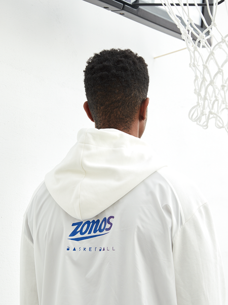 ZONOS BASKETBALL WHITE LETTER PRINT HOODIE SWEATSHIRT WITH MULTI COLOR LACES - boopdo