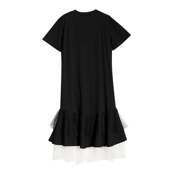 STELLA MARINA COLLEZIONE RUFFLED FISHTAIL T SHIRT DRESS - boopdo