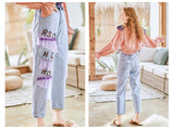 JAM PRINCESS STRAIGHT LEG JEANS WITH LACE AND LETTERS PATCH