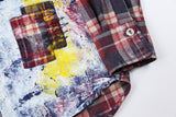 MALILOZ PATCHWORK DENIM PLAID SHIRT IN RED
