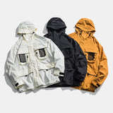 URBANOZ UNDERWAVE MULTI POCKET WINDBREAKER JACKET WITH HOODIE