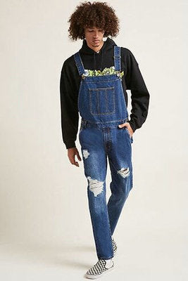 BOOPDO MONKILA RIPPED DENIM OVERALL JUMPSUIT IN BLUE AND BLACK