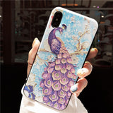 BOOPDO DESIGN PEACOCK EMBOSSED APPLE IPHONE ANTI FALL COVERS