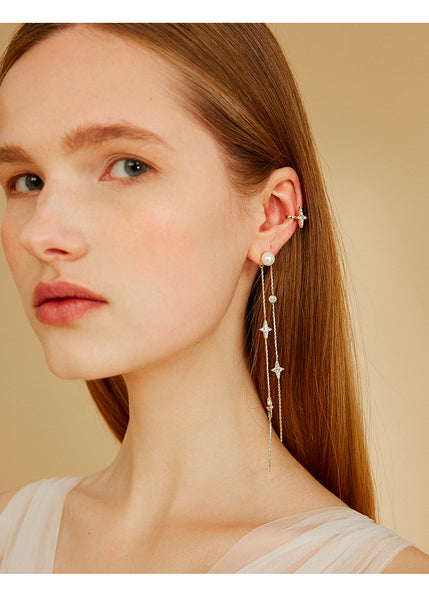 ZEGL STAR AND CRYSTAL DROP EAR CLIMBER CUFFS - boopdo