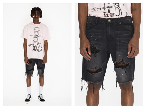 WANGZO DENGZO RIPPED WASHED DENIM JEAN SHORT PANTS