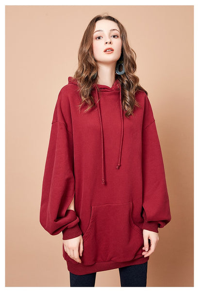 ARTKA HOODIE SWEAT DRESS WITH SPLIT SLEEVE DETAIL - boopdo