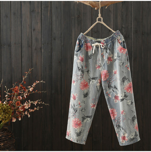 AUTUMN VINTAGE INSPIRED FLORAL PRINT TROUSERS