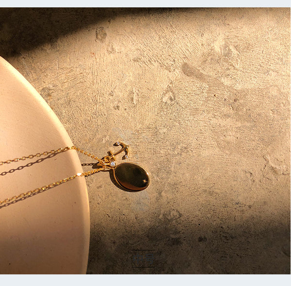 JELLY GIRL 18K GOLD PLATED OVAL MULTI DROP NECKLACE - boopdo