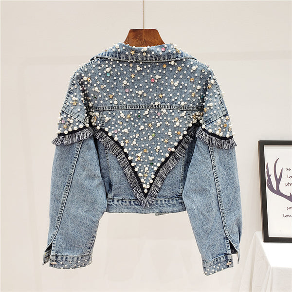 JEYYO CATHRO RETRO STAR OLD FASHION DENIM JEAN WOMEN JACKET WITH BEADED ACCESSORIES - boopdo
