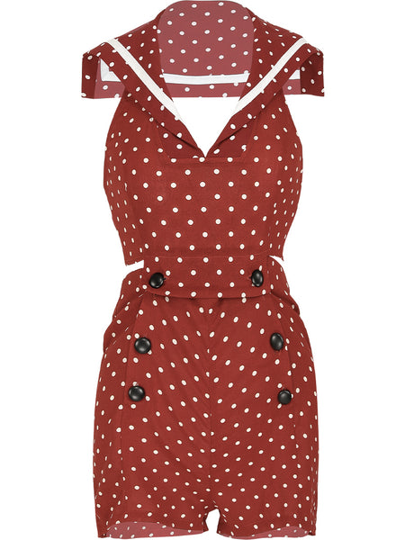SINCE THEN OPEN BACK PLAYSUIT IN RED POLKA DOT PRINT