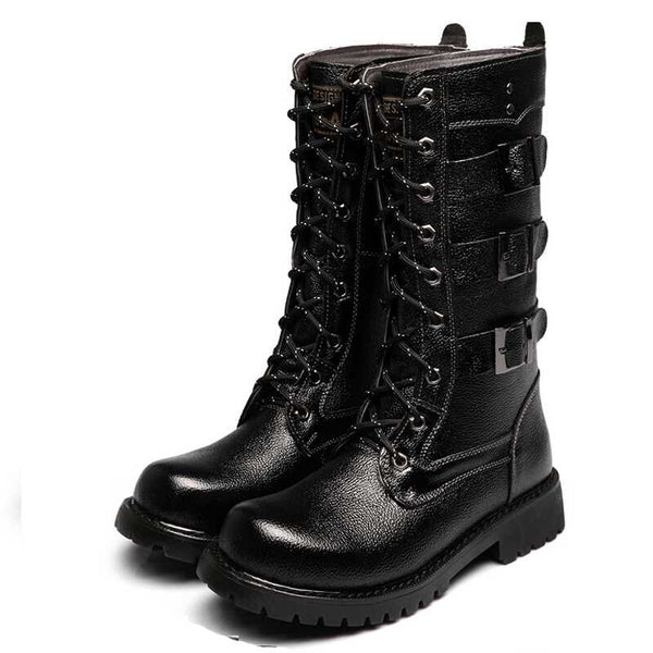 MARTEX PLUS VELVET WINTERIZED HIGH TUBE BLACK BUCKLED BOOTS
