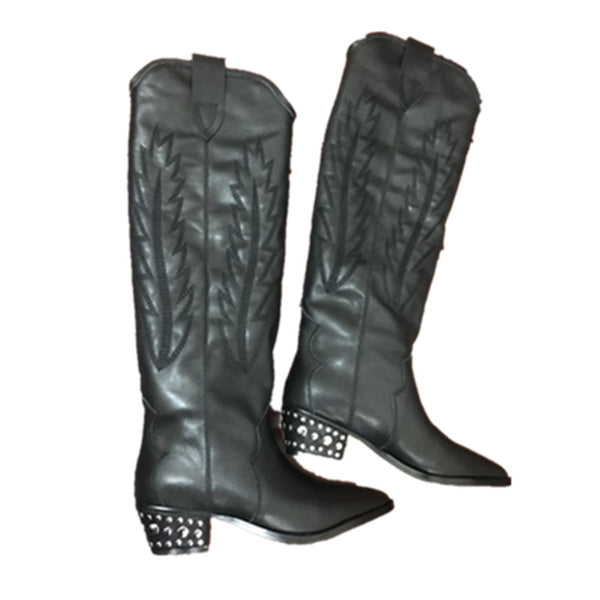 TEXSO BROOKLYN URBAN STYLE KNEE HIGH LEATHER COWGIRL BOOTIES - boopdo