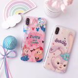 STELLOY FRIENDS CARTOON BEAR AND RABBIT APPLE IPHONE CASES WITH RHINESTONE - boopdo