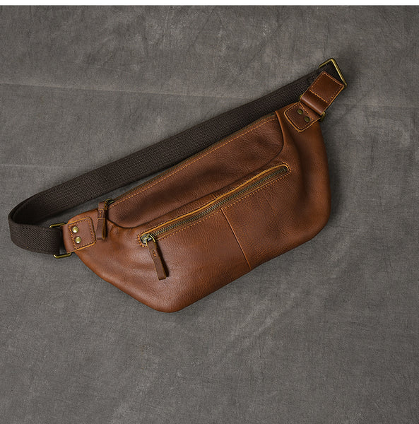 TWENTY FOUR STREET LAYER COWHIDE LEATHER DUAL USE CHEST MESSENGER BAG