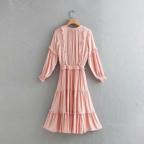 BOOPDO AMERILO RETRO TRIM LONG SLEEVED DRESS IN PINK - boopdo