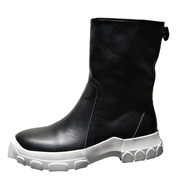 BRITISH CHUNKY HIKER RAIDER ZIP FAUX LEATHER BLACK BOOTS - boopdo