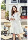 ARTKA EMBROIDERY FRILL SLEEVE MINI SMOCK DRESS WITH PEP HEM