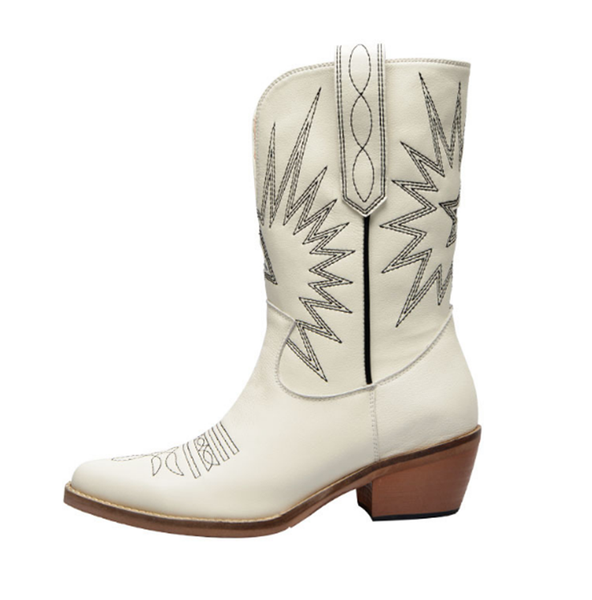 JESSIA HULLO URBAN STYLE WESTERNER COWGIRL LEATHER BOOTS - boopdo
