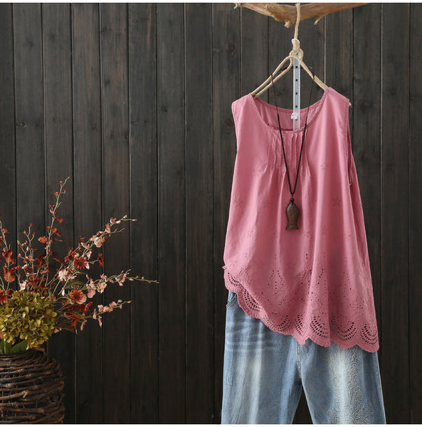 AUTUMN SLEEVELESS SMOCK TOP WITH BROIDERY HEM